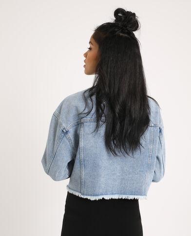 Giacca di jeans corta blu delavato