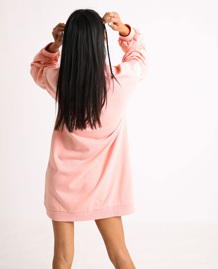 Abito felpa con maniche a palloncino rosa