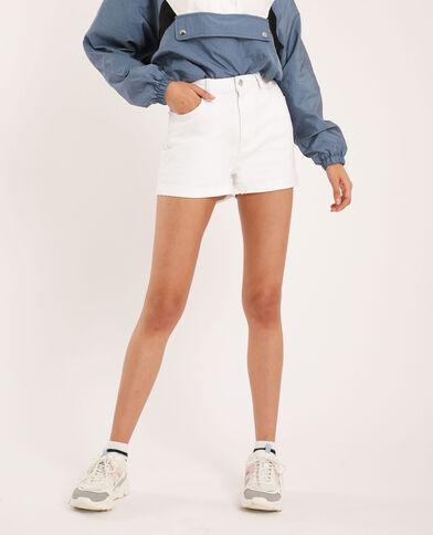 Short di jeans high waist bianco