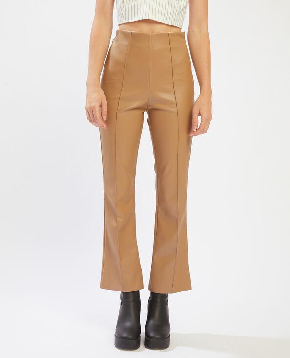 Pantalone flare in similpelle beige - Pimkie