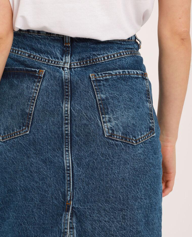 Gonna midi di jeans blu denim