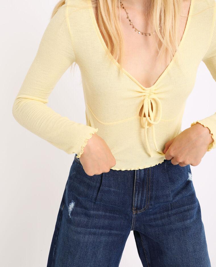 Top corto a maniche lunghe giallo