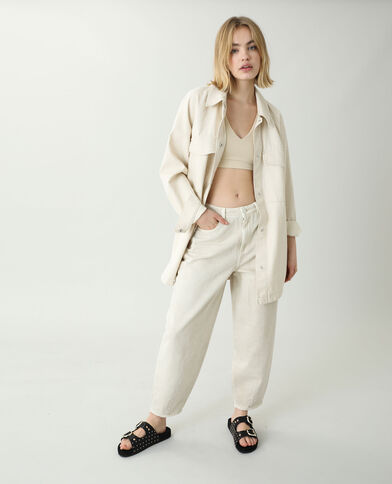 Jeans slouchy high waist beige corda - Pimkie