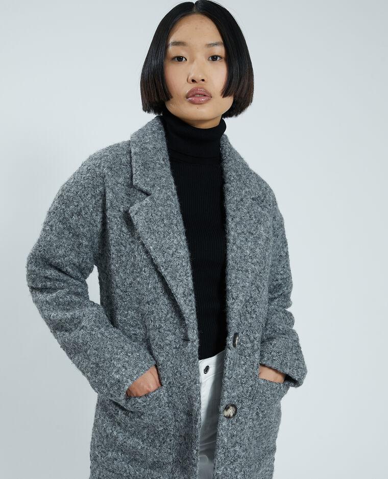Cappotto lungo in maglia bouclé grigio chiné - Pimkie