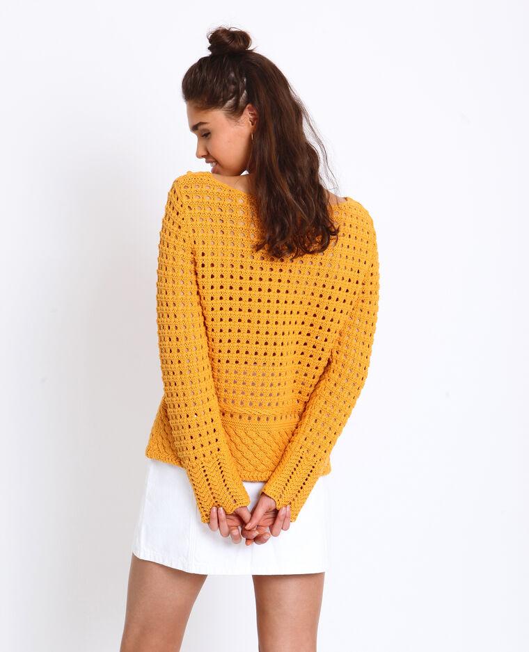 - Pull corto in maglia traforata giallo