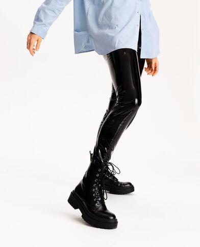 Leggings in vinile nero