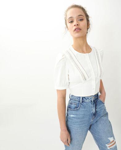 Camicia corta vintage bianco sporco - Pimkie
