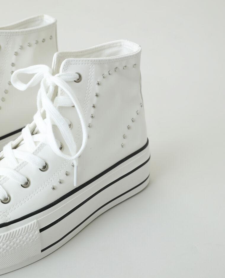 Scarpe da tennis alte con plateau e borchie bianco - Pimkie