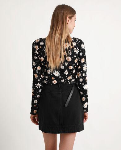 Top a fiori nero