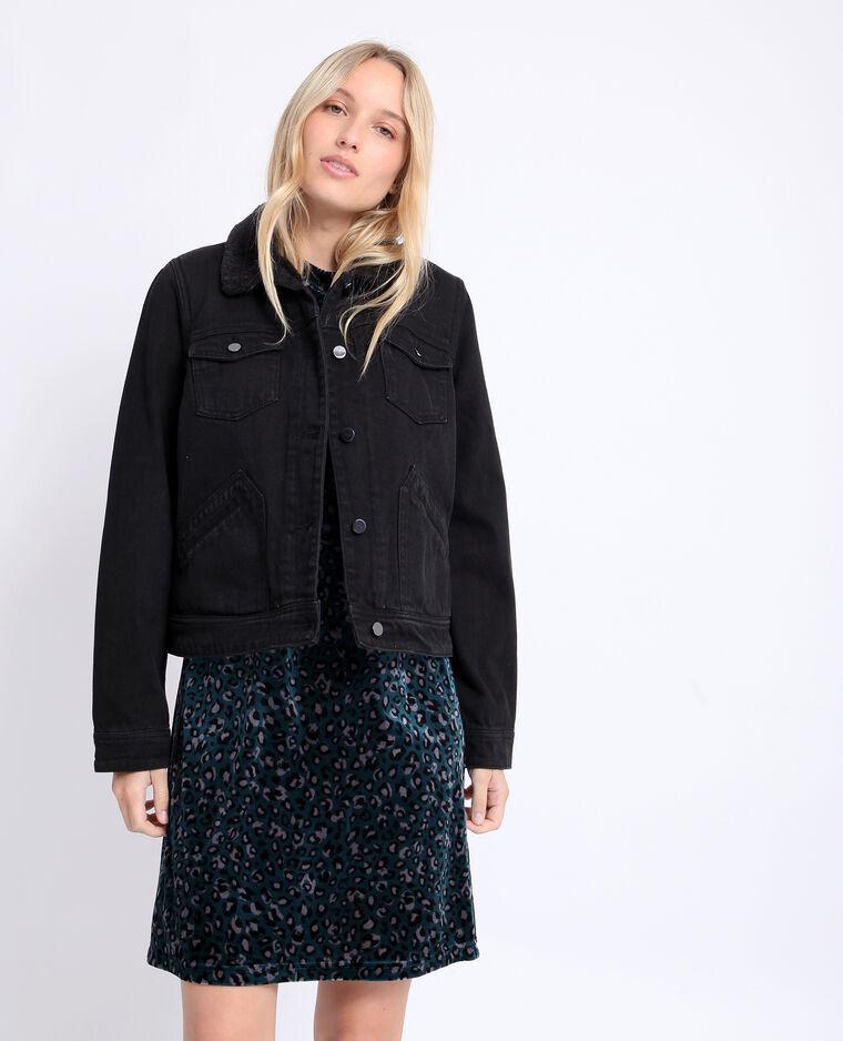 Giacca in jeans imbottita grigio scuro