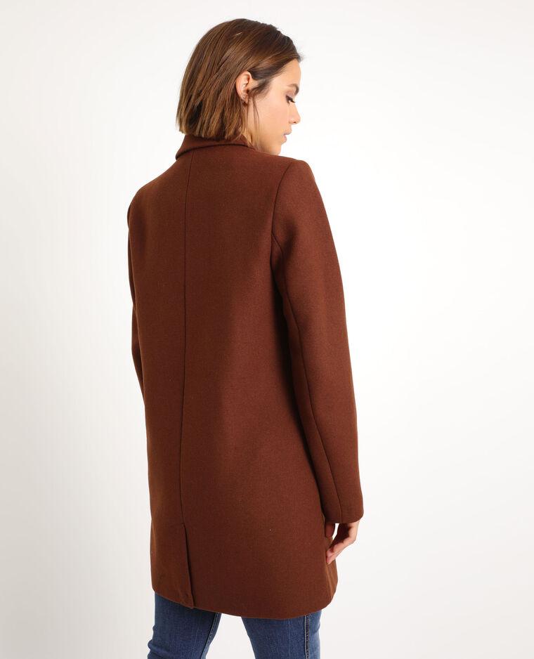 Cappotto in panno di lana marrone
