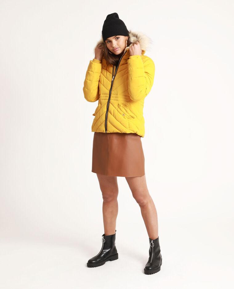 Piumino con pelliccia ecologica giallo