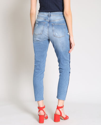 Jeans slim a vita alta blu denim