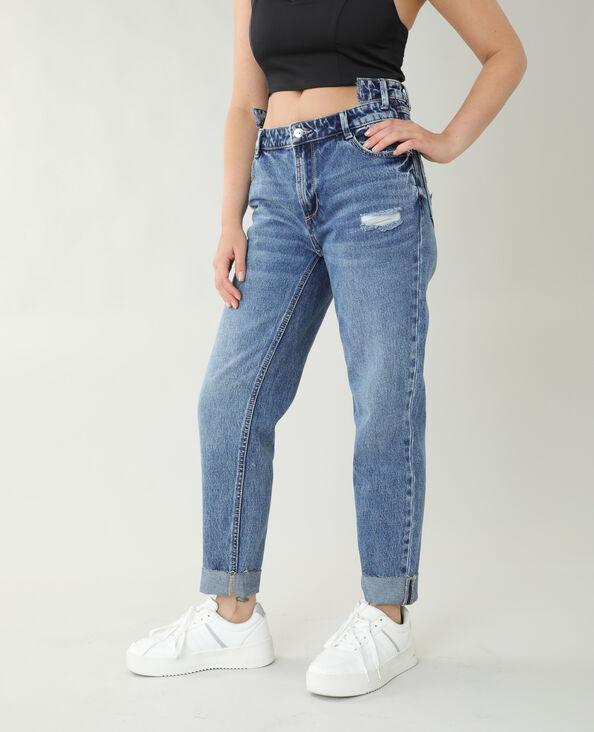 Jeans straight high waist blu grezzo