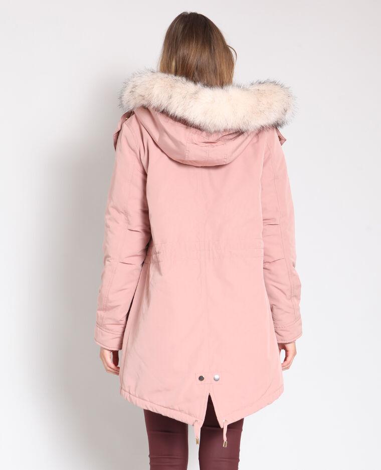 Parka lungo con pelliccia ecologica rosa antico