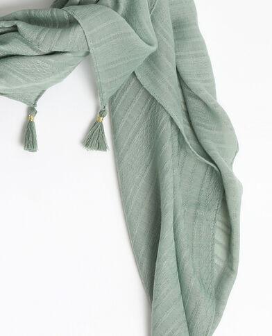 Sciarpa sottile con pompon verdeg