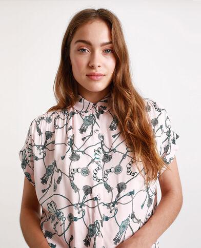 Camicia stampata rosa cipria