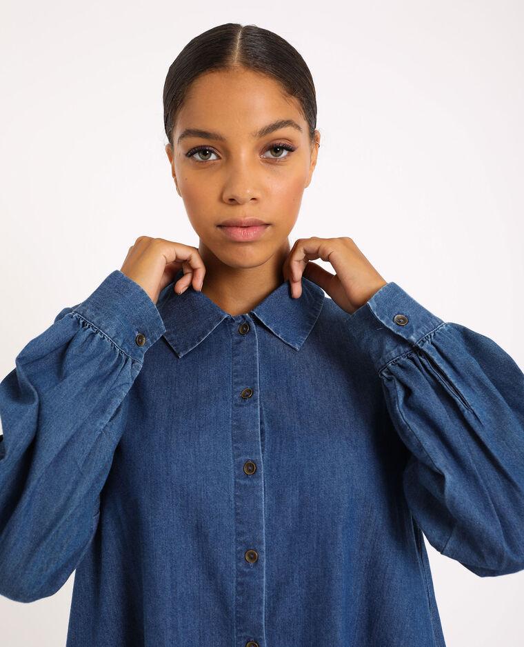 Abito camicia di jeans blu denim