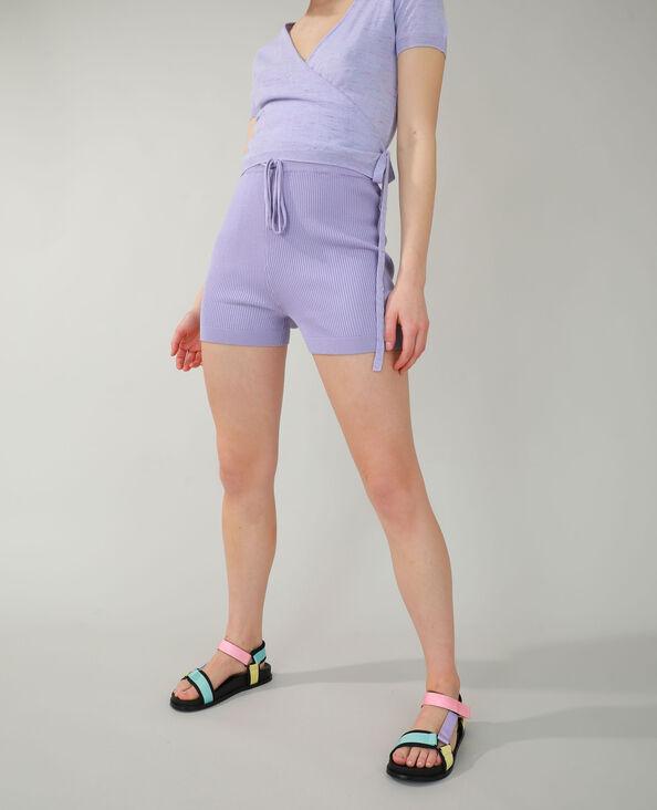 Pantaloncini corti in stile ciclista a coste viola