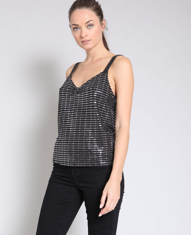 Top con paillettes nero