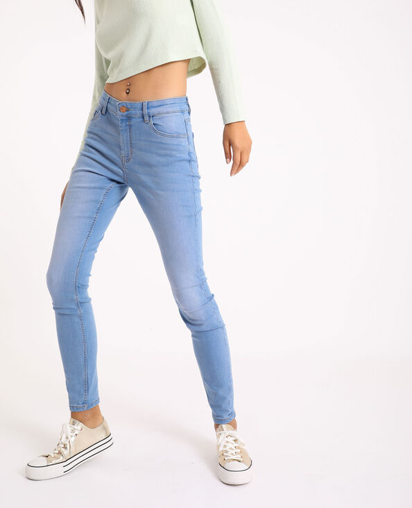 Jeans skinny mid waist blu stone