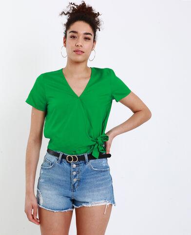 Camicia cache-cœur verde