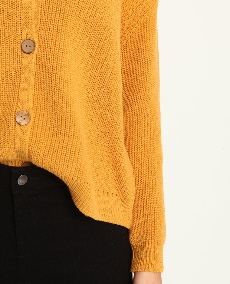 Cardigan con collo a V giallo