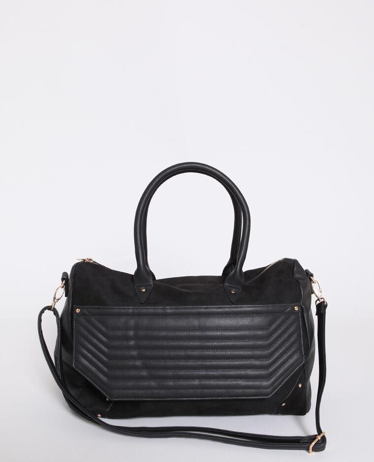 Grande borsa shopping in finta pelle nero