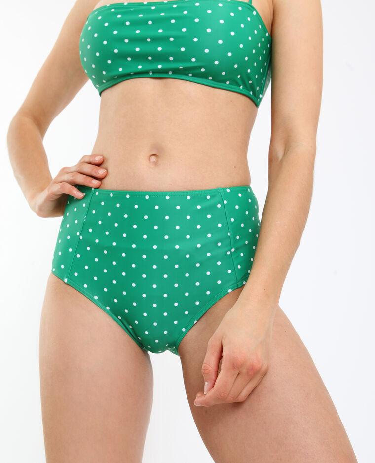 Pezzo sotto di bikini a vita alta verde
