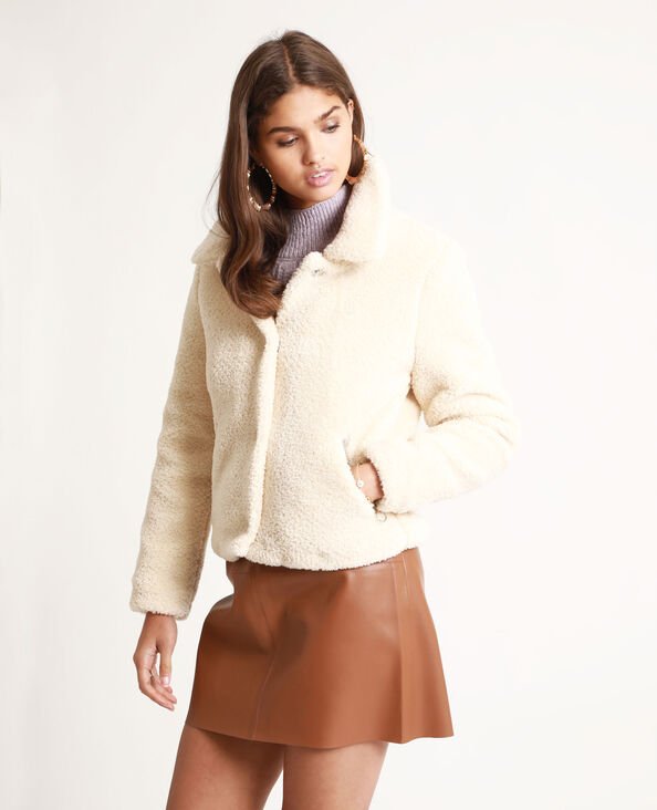 Giacca in pelliccia ecologica beige