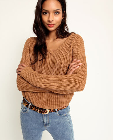 Pull in maglia spessa marrone