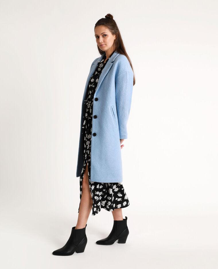 Cappotto lungo con lana blu chiaro