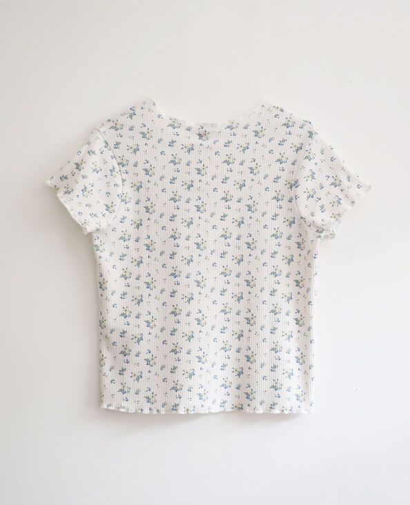 T-shirt con stampa a fiori bianco sporco