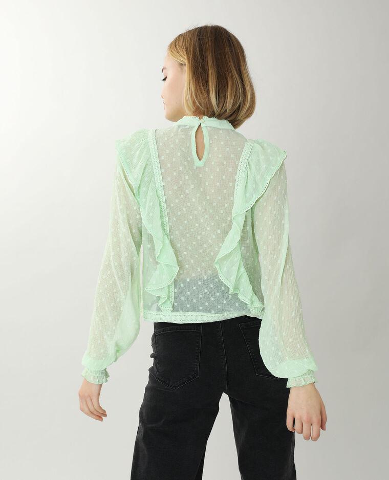 Blusa in pizzo con volant verde