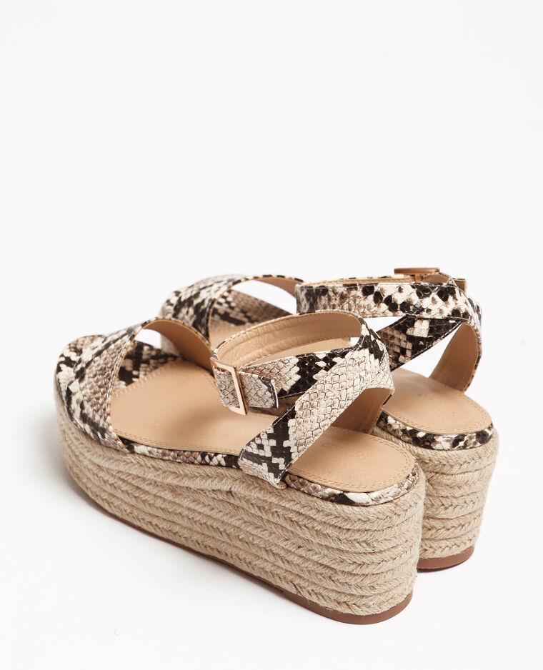 Sandali con plateau pitone beige corda