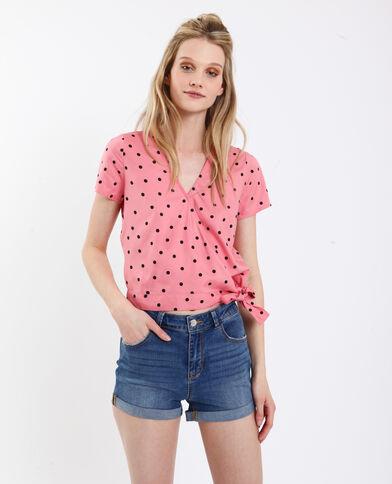 Camicia cache-cœur rosa