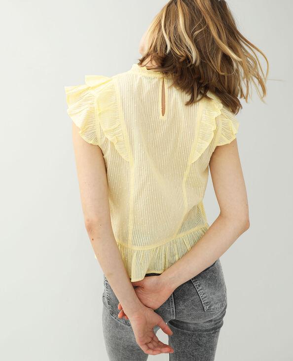 Blusa con plumetis e volant giallo pallido