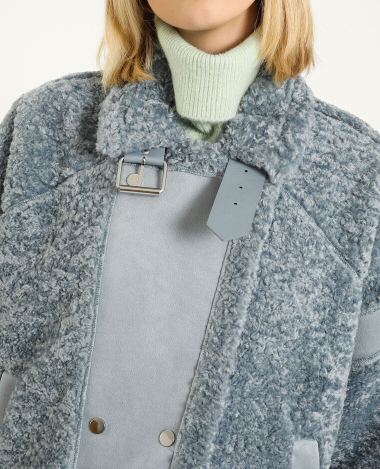 Giacca in stile shearling blu