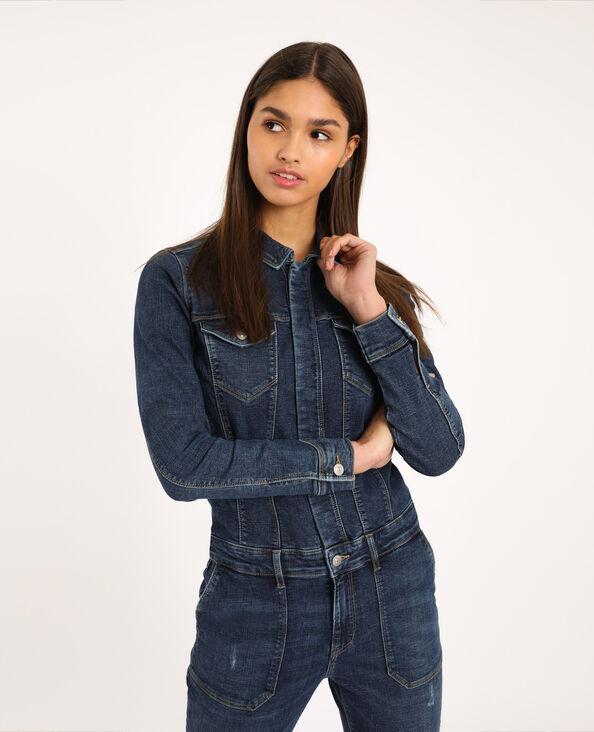 Abito pantalone in jeans blu grezzo