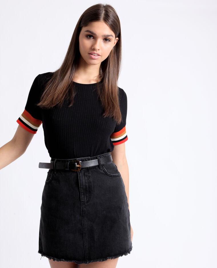T-shirt con maniche colorate nero