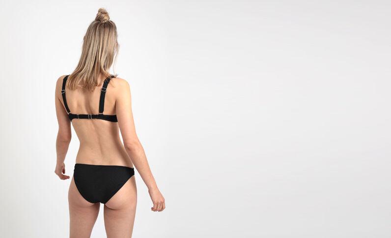 Pezzo sotto di bikini tinta unita nero
