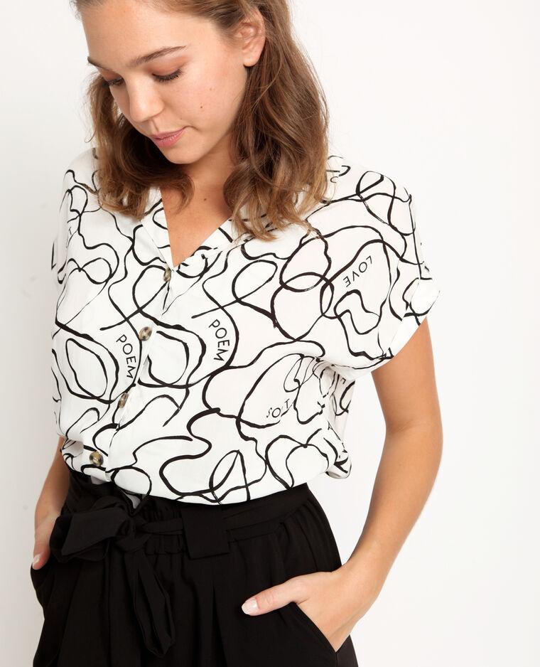 Camicia stampata bianco sporco