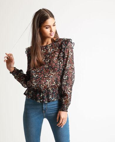 Camicia a fiori nero