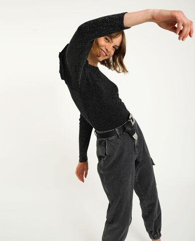 Body con fili in lurex nero
