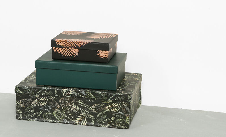 Lotto da 3 scatole art déco. verde