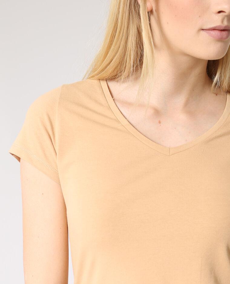 T-shirt collo a V beige sabbia