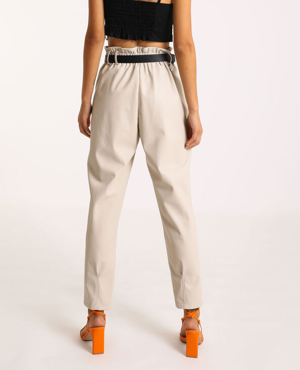 Pantalone city in similpelle beige corda