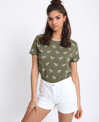 T-shirt con stampa kaki