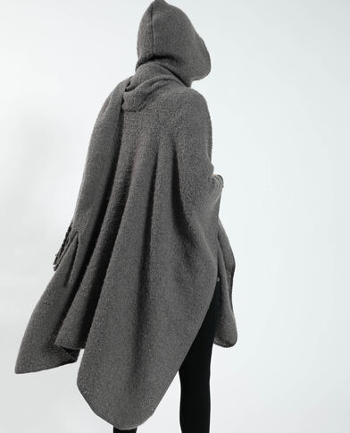 Poncho con cappuccio grigio - Pimkie