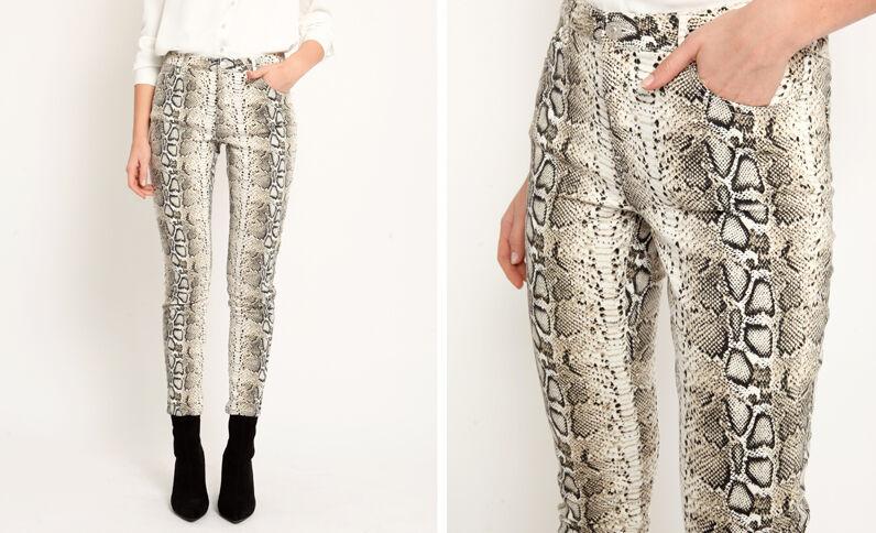 Pantalone pitone écru